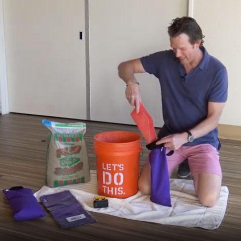 Jeff Bailey demonstrates Filling Yoga Sandbags