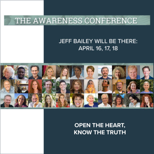 The Awareness conference with Jeff Bailey as one of the speakers presenting and guiding a yoga practice